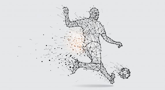 The particles, geometric art, line and dot of football player shooting. abstract vector illustration.  graphic design concept of sport motion - line stroke weight editable
